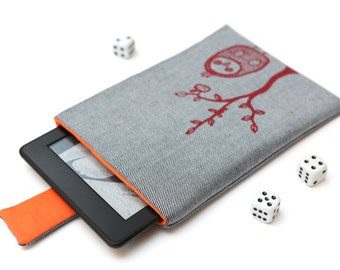 Kindle Fire, Kindle Voyage, Kindle Paperwhite case cover sleeve handmade with magnetic closure light jeans denim and orange with red owl