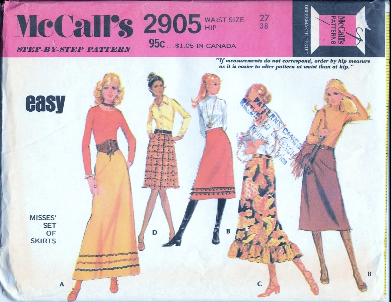 vintage 1970s mccall s 2905 skirts sewing pattern midi