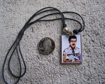 Brass-Glass Jesus Malverde Money Necklace - Mexico