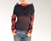 Women asymmetrical Like tops/ Black Long Sleeve Shrug Bolero/mini vests/wrap tops