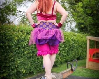 Purple brocade & pink net bustle for fairy costume, steampunk faerie festival clothing, tie on bustle skirt