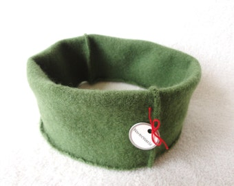 Cashmere Headband Earwarmer GREEN Ear Warmer Head Band Upcycled Sweater by WormeWoole