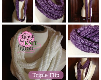 Loom knit Triple Flip Scarf PATTERN
