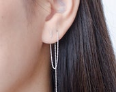 Long Chain Threader Earrings, Sterling Silver, Gold Plated, Delicate Chain Stick Earrings, Minimal Lunaijewelry, Edgy Valentines Gift,CHE024