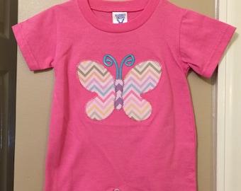 Size 6 month Rabbit skins vintage butterfly applique romper includes name monogram