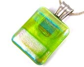 Dichroic Pendant - Green Rainbow Striped Pink Teal Orange Clear Dichro Fused Glass - 1 Inch Rectangle