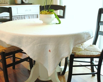 Vintage European embossed white tablecloth with red monogram M