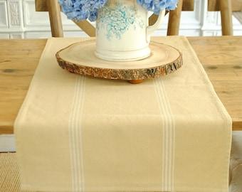 Tan and white farmhouse stripe table runner- medium