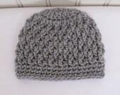 Crochet Boys Hat or Girls Hat - Baby Hat - Toddler Hat - Winter Hat - Newborn Hat - Light Grey Hat - in sizes Newborn to 3 Years
