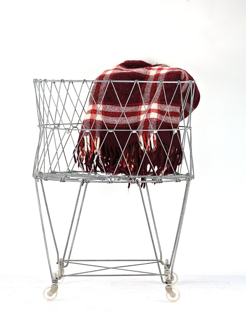 Vintage Wire Laundry Basket Collapsible Wire By Huntandfound