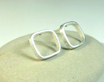 Organic sterling silver square posts- ready to ship