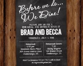 Chalkboard Rehearsal Dinner Invitation - Before we do, We dine - Printable or Printed Invitation