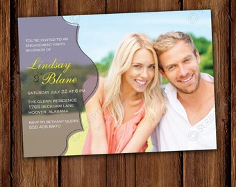 Simple Engagement Party Invitation - True Romance Invitation - Printable or Printed Invitations