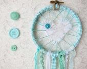 Mint Green & White Love Catcher, Shabby Chic Lace Dream Catcher, Nursery Decor, Baby Shower Gift