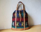 Mexican Textile Bag with Leather Straps