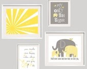 Baby Boy Nursery Decor You Are My Sunshine Elephant Print Set Yellow and Gray  girl and boy colors FRAMES NOT INCLUDED