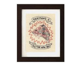 Original embroidery // PIZZA