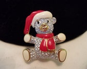 Swarovski Teddy Bear Brooch Glass Rhinestone Enamel Gold Plate Christmas Jewelry Retired