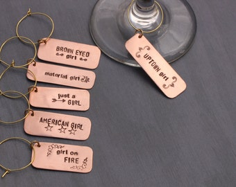 6 Copper Hand Stamped Girls Night Wine Charms / unique hostess gift / personalized wine charms / unique wedding present / girls night gift