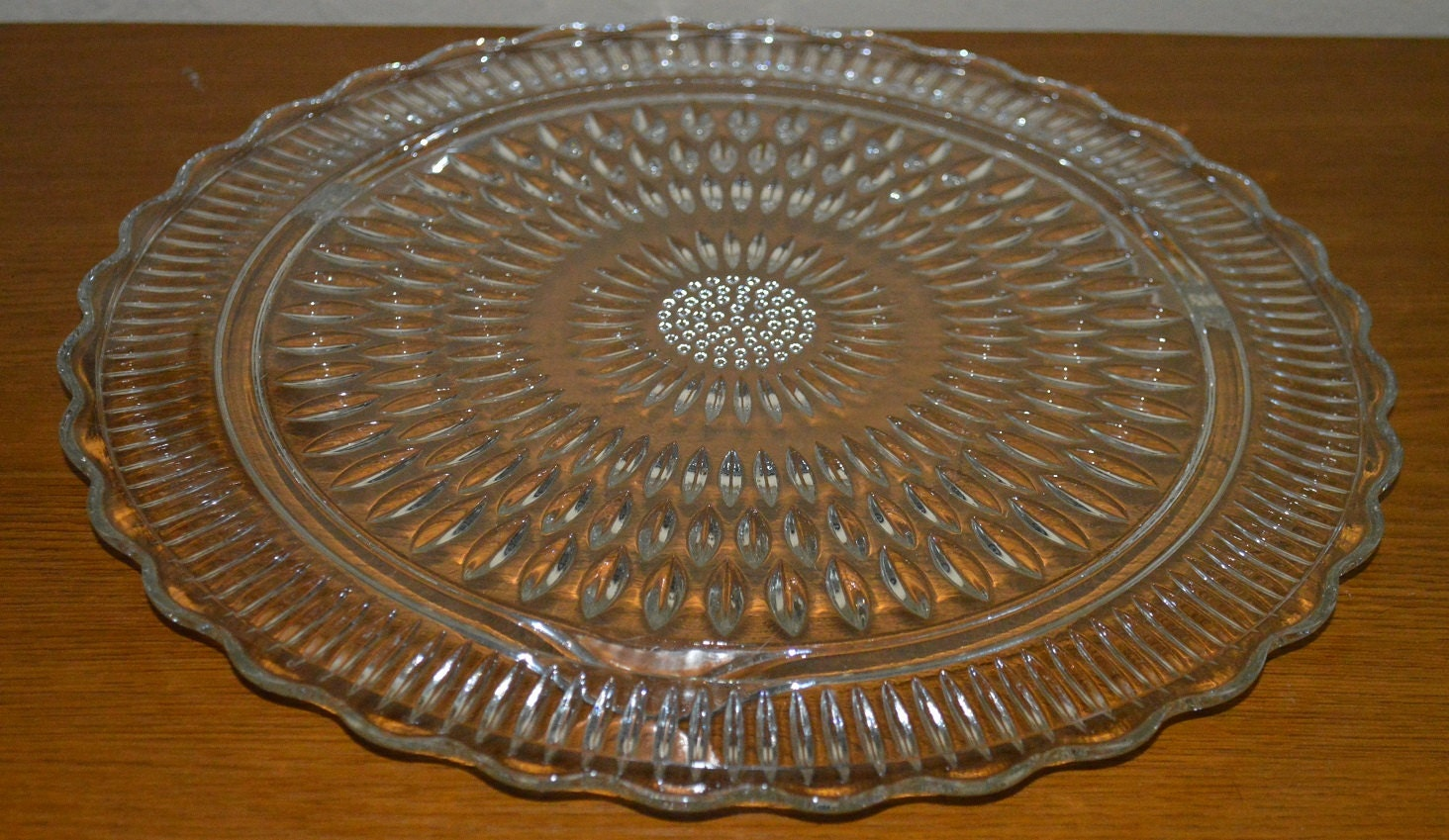 Footed Pressed Glass Cake Plate Sunflower Haute Juice