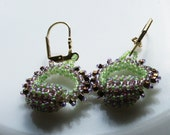 Romantic Boho Chic circle Hoops earring tiny lime amethyst seed beads Toho finished with gold plated hooks.  Valentine's day