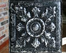 "Genuine Antique Ceiling Tile -- 12"" x 12"" -- Distressed Black Paint -- Beautiful Large Flower Design"
