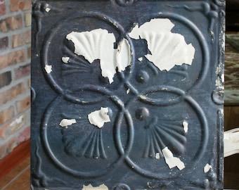 "Antique Ceiling Tile -- 12"" x 12"" --  Cream Paint and Bare Metal Patina  -- Interlocking Circle"