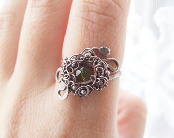 Green Gypsy Ring, Wire Wrapped Retro Copper Ring, Gypsy Jewelry