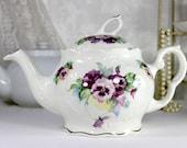 Crown Dorset Tea Pot Teapot - Pansies Decorated Porcelain Teapot  12511