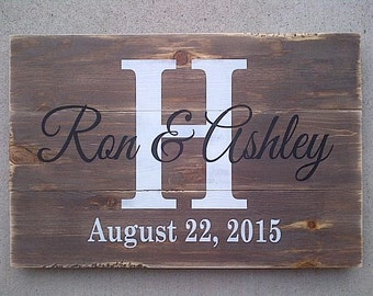 Personalized couple name sign with initial and date wooden sign by Dressingroom5