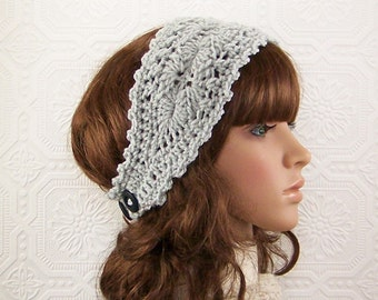 Crochet headband, headwrap - gray mist - womens accessories winter fashion - adult headband - Sandy Coastal Designs - ready to ship