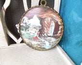 Antique French LOURDES Virgin mary  in a bubble glass dome