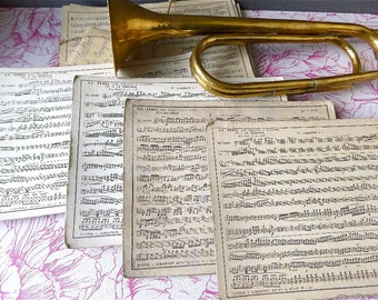 Original Large  French Sheet music band cards set of 4