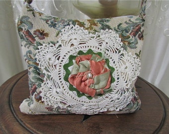 Small Tapestry Handbag, handmade thick fabric, tapestry clutch, embellished crocheted doily, fabric rose, zipper closure, short purse strap