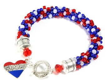 Patriotic Kumihimo Bracelet, Red White Blue Kumihimo, Heart Charm, Fourth of July, Memorial Day