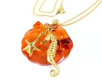 Swarovski Crystal Shell Pendant, Beach Theme, Gold Vermeil, Summer Blush