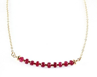 Natural Ruby Bar Necklace - July Birthstone - Gold Filled - Faceted Ruby - Choker Necklace - Precious Gemstone - Minimalist necklace