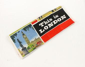 Vintage This is London Towel - City Landmark Paintings by Irish Cabin Linens- Black, Red, Blue - Novelty Souvenir Dish/Tea Towel MWOT