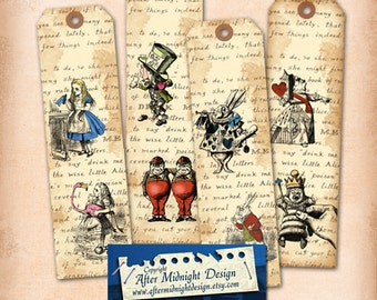 Alice in Wonderland Bookmark No 1Alice decorations, Alice bookmarks, Alice party supplies, digital collage sheet, digital download