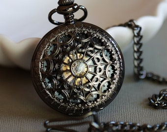 Pocket Watch,Black Personalized Mens Pocket Watch,Mechanical Steampunk Pocket Watch,Pocket Watch Chain,Groom Gift,