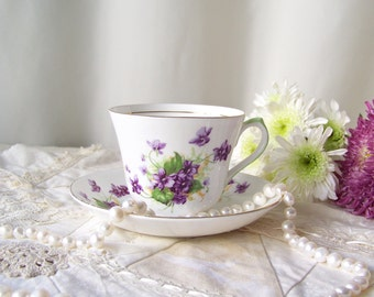 Vintage Purple Violet Tea Cup Set Salisbury Jon Roth Numbered Bone China Mothers Gift Made In England Vintage 1960s
