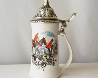 Vintage Beer Stein The Fox Hunt Nelson McCoy Pottery Made In USA Man Cave Bar Pool Room Gift For Dad 1980s