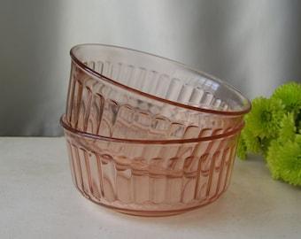 Vintage Pink Glass Cereal Bowl Set Pink Glass Set of Two Pink Bowls Fortecrisa 1980s