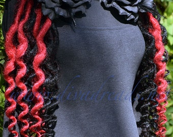 Red and Black Super Curly Dread lock falls