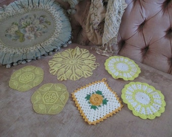 LOT 6 Piece Vintage Shabby Chic CROCHET  Doily  Hot Plate Pot Rose Holder Bright Colors YELLOW White A104