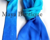 Matching Silk Neck Tie & Scarf Hand Dyed Blue Turquoise Ombre Maya Matazaro - Art to wear