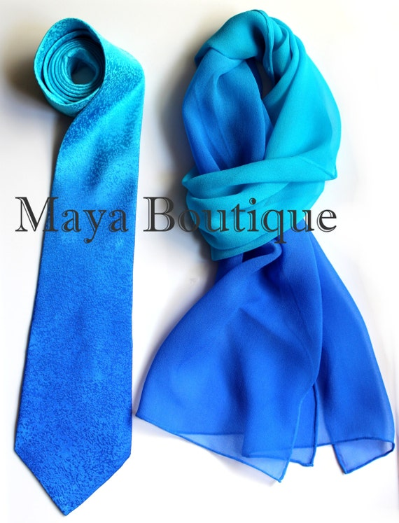 matching silk neck tie scarf dyed blue turquoise ombre