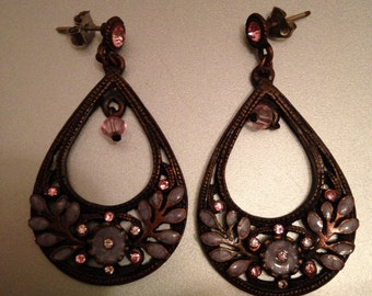 Earrings Dangle Teardrop Copper and Pink Sparkle and Pink Opague Stones Lovely Antique Vintage Look Pierced Posts