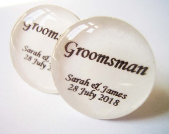 Free Post, Groomsman Cufflinks, Personalized Wedding Cufflinks with Names and Date of Wedding - Wedding Cufflinks UK, Cuff Links