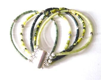 Multi Strand Beaded Bracelet, Stacking Bracelet Set, Boho Stackable Bracelet, Bohemian Gemstone Jewelry, Gift for Mom - Black, Green